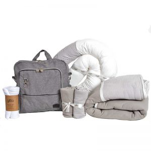 ideal snae bamboo textile bundles022 300x300 - מארז תיק gitta Ideal ג'ינס אפור, נחשוש, שמיכת חורף וסדיני מיטה פסים אפור בהיר, וחיתול במבוק ענק לעיטוף
