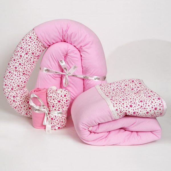 bundles026 600x600 - מארז נחשוש, שמיכה עבה וסדיני מיטה כוכבים ורוד