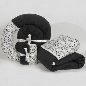 bundles027 300x300 - מארז נחשוש, שמיכה עבה וסדיני מיטה כוכבים שחור