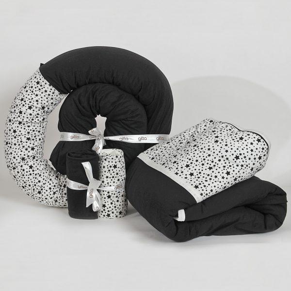 bundles027 600x600 - מארז נחשוש, שמיכה עבה וסדיני מיטה כוכבים שחור
