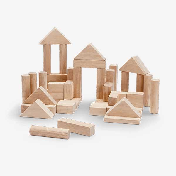 40 blocks - 40 קוביות מעץ גוון טבעי