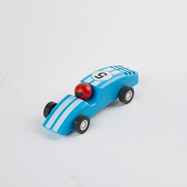 race car blue - מכונית מרוץ מעץ - כחול