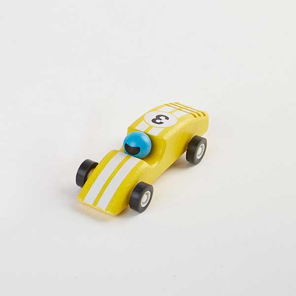 race car yellow - מכונית מרוץ מעץ - צהוב