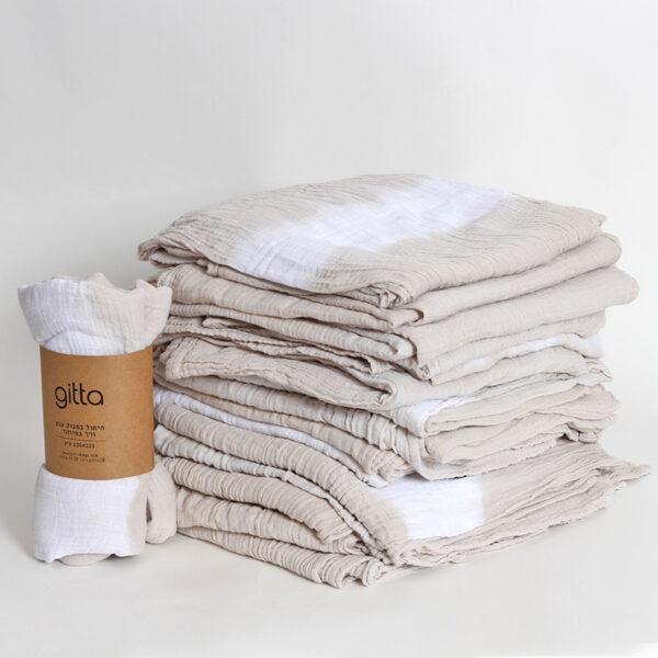7290111692703 600x600 - Tie dye bamboo swaddle wrap stone gray one stripe