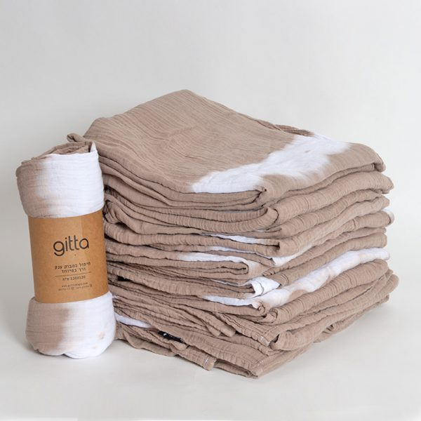7290111692710 3 1 600x600 - Tie dye bamboo swaddle wrap camel one stripe