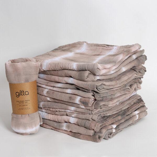 7290111692727 600x600 - Tie dye bamboo swaddle wrap camel white stripes