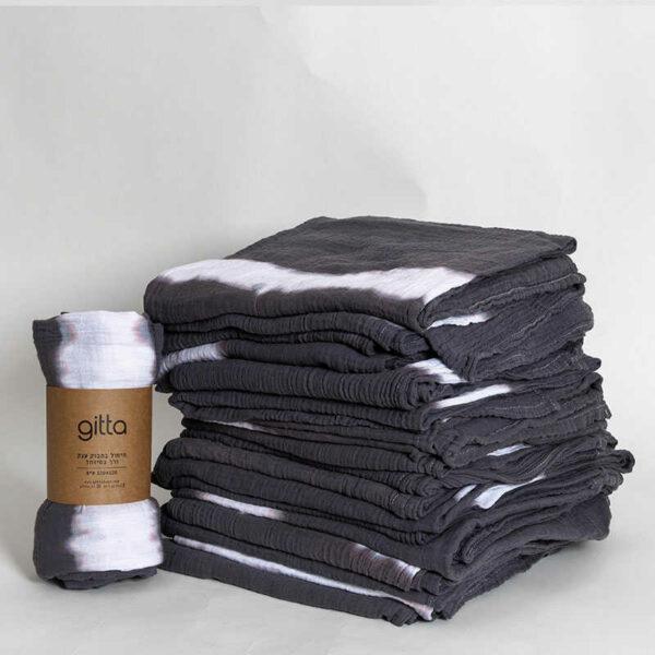 7290111692758 1 optimized 600x600 - Tie dye bamboo swaddle wrap charcoal one stripe