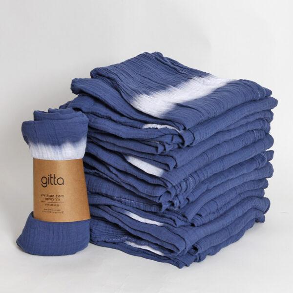 7290111692796 lighter 600x600 - Tie dye bamboo swaddle wrap dark blue one stripe