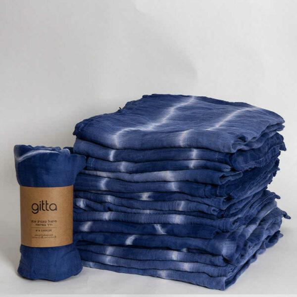 7290111692802 1 optimized 600x600 - Tie dye bamboo swaddle wrap dark blue white stripes